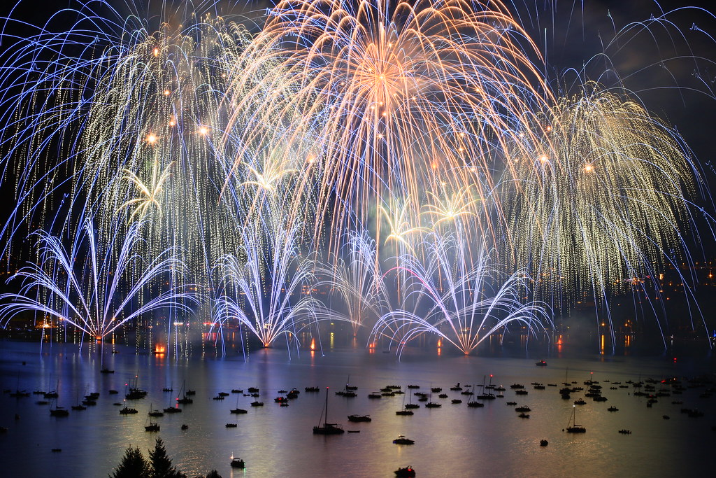 Spectacle of the Annecy Lake Festival Fireworks