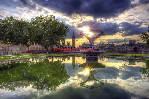 sunset london fountain reflections big ben riverthames hdr westminister housesofparliment andrewthomas