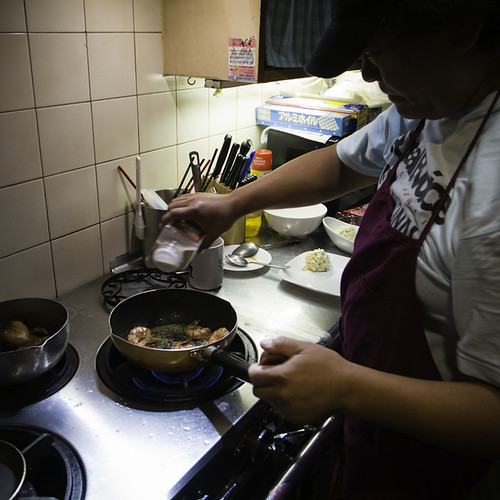 Sean Cooking Garlic Shrimp, Sean's Kitchen, Urayasu, Japan