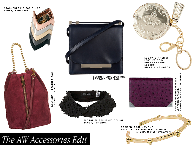 daisybutter - UK Style and Fashion Blog: AW12, accessories edit, topshop, asos, rock and rose, anya hindmarch, the row, alexander wang