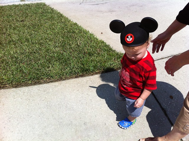 George insisted on wearing all Mickey stuff, ears included.