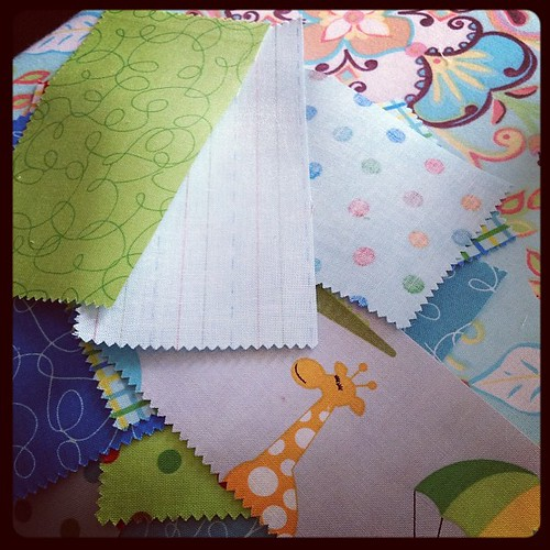 Working on a baby quilt for someone. Shhh she might figure it out :) Love the animals in jungle bungle fabric. #quilting