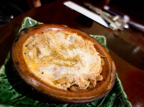 Japanese's pork and egg on hot bowl