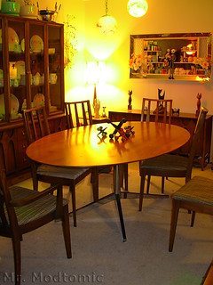 Florence Knoll table and Broyhill Brasilia Chairs - China Cabinet - Buffet 03