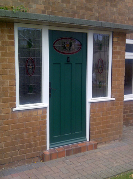Leaded and stained replacement wooden front door and for Front door replacement