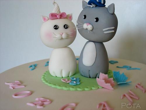 Gâteau d'anniversaire - Deux petites chats