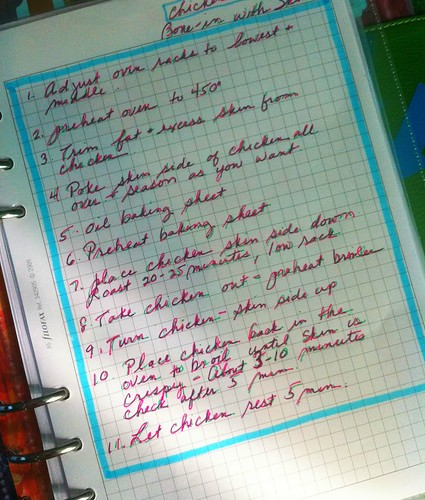 chicken recipe filofax section