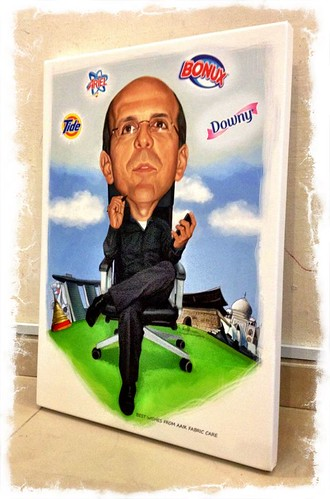 digital caricature for P&G printed on stretched canvas