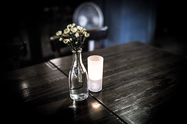 Vase and candle