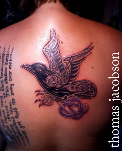 Celtic raven holding pancreatic cancer ribbon thomas for Celtic breast cancer tattoos