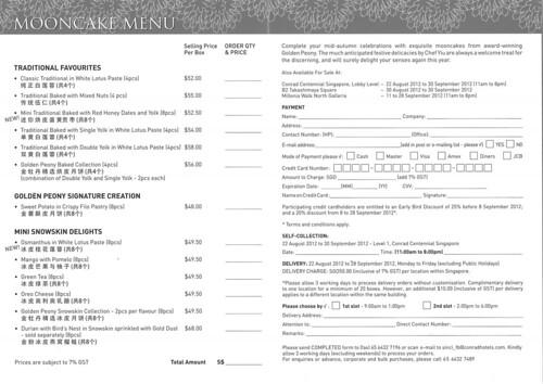 Conrad Centennial mooncake order form 2012