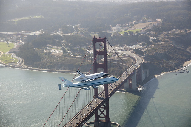 Endeavour Over The Golden Gate Bridge (ED12-0317-012)