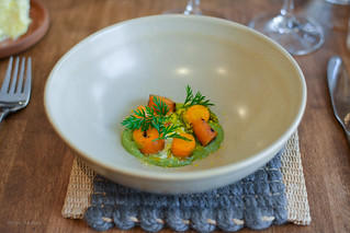 3rd course - Carrots: pickled and grilled, sauce of the tops, crème fraiche, salted egg yolks | by Fran Azafrán
