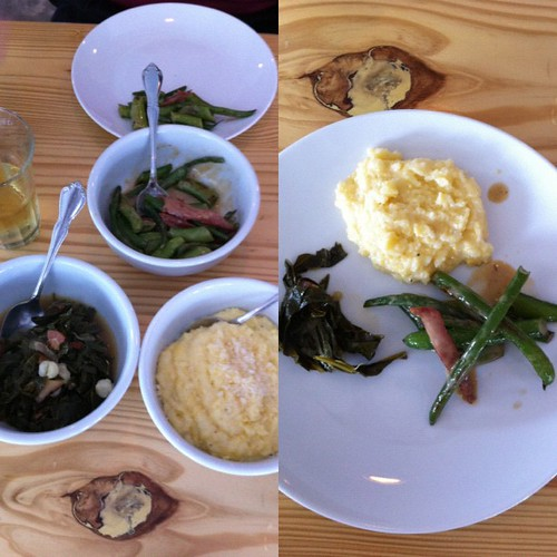 Sides // collards, peas + polenta