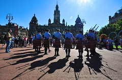 Pipe band at George Square, Glasgow