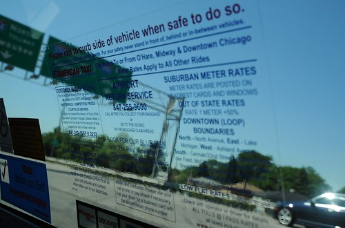 Please exit to curb side of vehicle when safe to do so, car, highway signs, taxi ride blue words instructions window view, trees, on my way to visit the Chicago Bulls doctor, freeway, Schaumburg to Chicago, Illinois, USA by Wonderlane