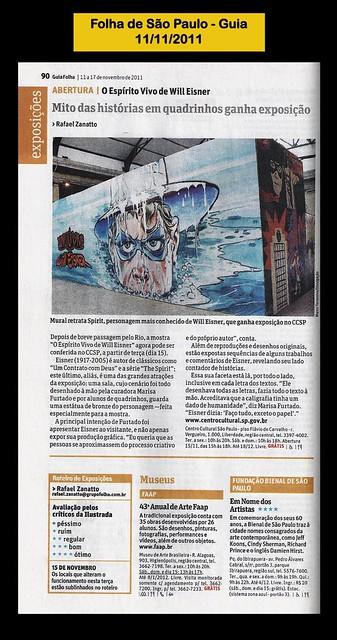 """""""Mito das histórias em quadrinhos ganha exposição"""" - Folha de São Paulo - 11/11/2011"""