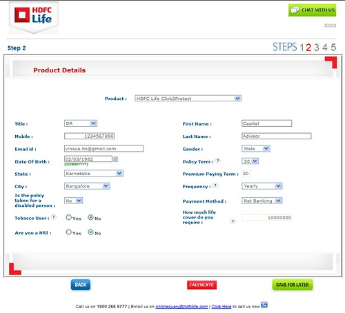 Image of HDFC Life Click 2 Protect premium calculation page