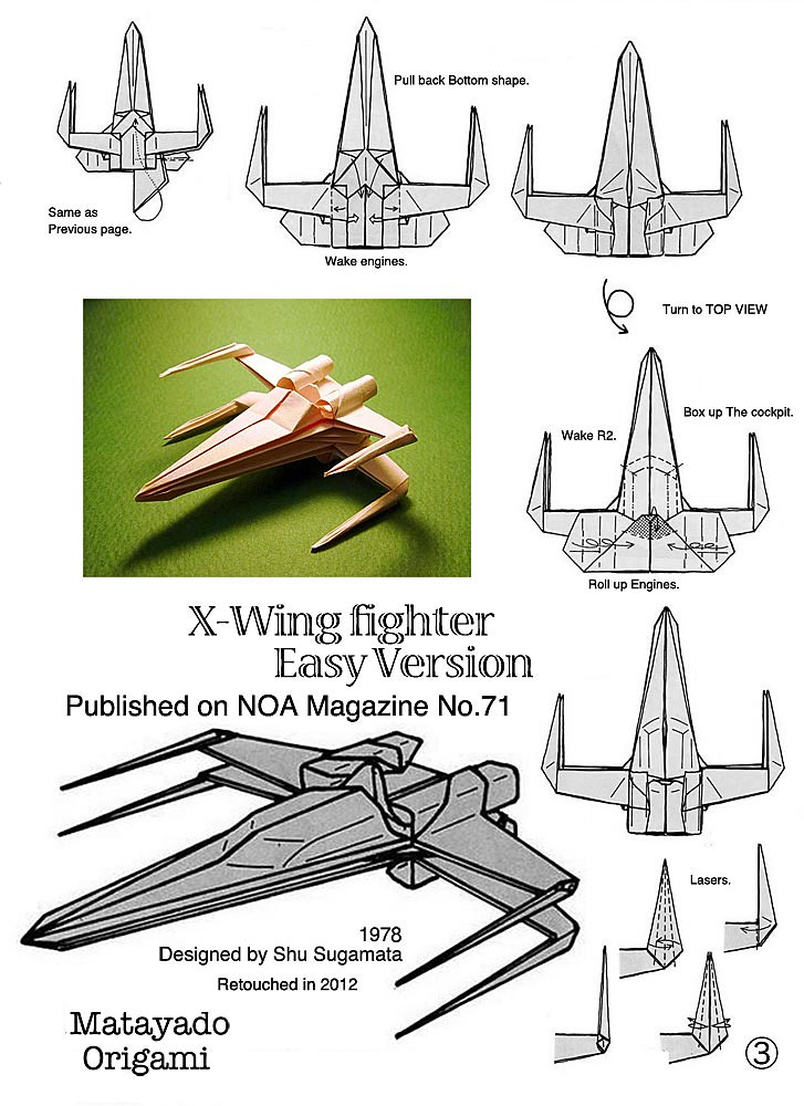 xwing fighter origami diagram easy version 3 a photo on