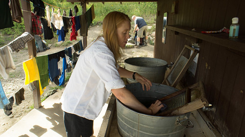 Julie doing some laundry