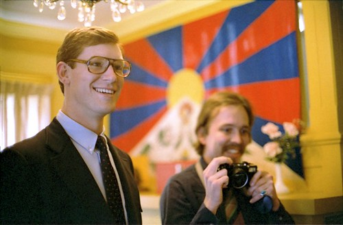 Happiness - Jeff Schoening and Steve Dalos (with camera), 1980, opening the old Sakya Dharma Center on 18th in the U District, Open House, Tibetan National Flag, Seattle, Washington, USA by Wonderlane