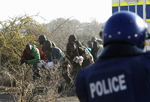 Clashes between mineworkers and police at the Marikana mines where platinum is extracted. Official reports indicate around 44 have died over the last week. by Pan-African News Wire File Photos