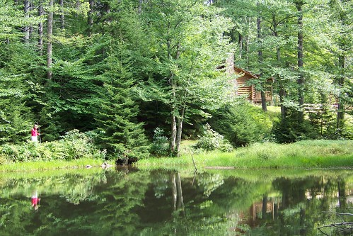 The pond, the cabin, and my reflection
