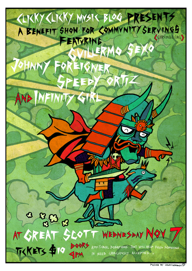 Clicky Clicky Music Blog Presents A Benefit Show For Community Servings Featuring Guillermo Sexo, Johnny Foreigner, Speedy Ortiz & Infinity Girl | 7 Nov. | Great Scott