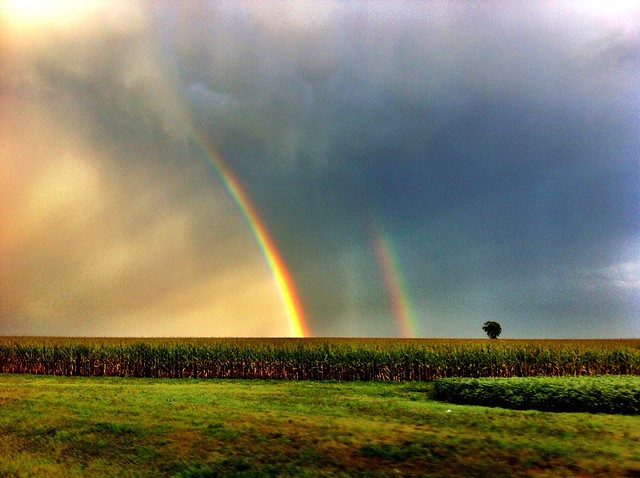 Double rainbow in the fields