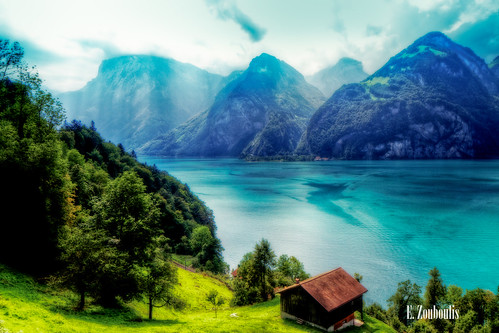 house lake mountains green grass landscape photography schweiz switzerland see swatch scenery swiss hdr urnersee urner zouboulis
