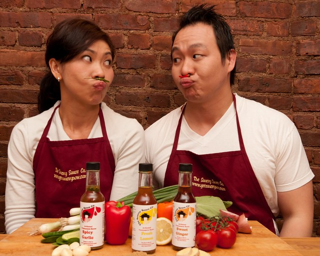 Sister and brother team Toan and Ken Huynh, owners of The Saucey Sauce Co. from Brooklyn, NY.