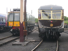 GWR AEC Railcar W22 with Class 121 DMU Bubble RailCar at Great Western Railway Centre in Didcot