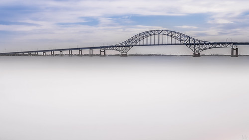 park longexposure bridge sky ny newyork beach water fog clouds print landscape photography scenery gallery unitedstates image cloudy fineart stock scenic picture longisland canvas poop inlet causeway robertmoses captree neutraldensityfilter 10stop bw110 croporama gilgooakbeachcaptree