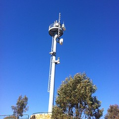 This aviation beacon on Mt. Ainslie in Canberra, Australia can be seen by airplanes leaving Sydney 280km away!