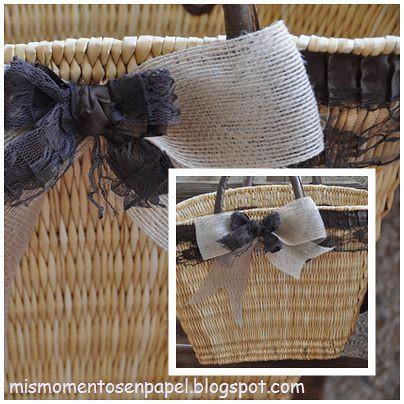 bolso de paja hecho a mano con putilla en color chocolate