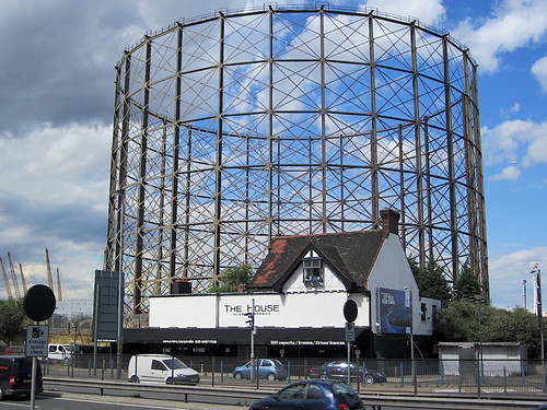 The skeletal gas holder on Greenwich peninsula