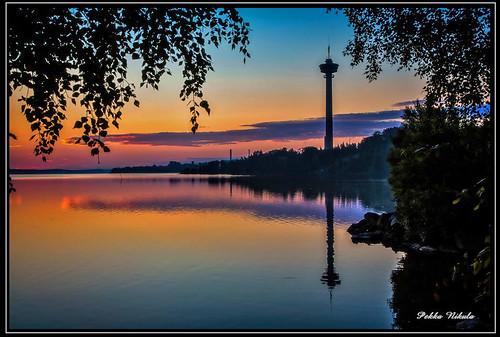 lake nature water sunrise finland landscape tampere näsinneula näsijärvi auringonnousu santalahti onkiniemi sighttower