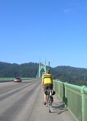 Kevin proceeds across the terrifyingly narrow sidewalk on the St Johns Bridge
