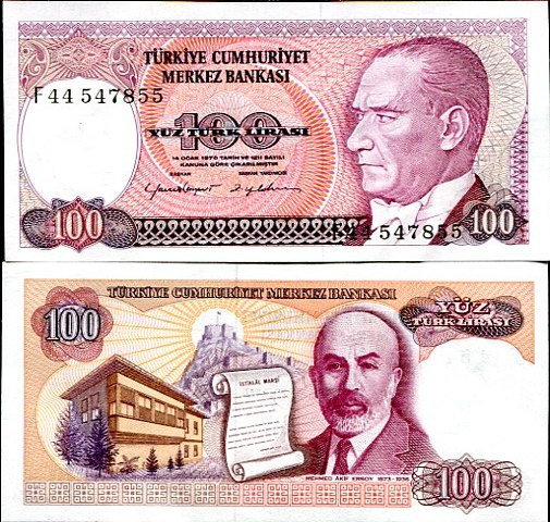 100 Lirasi Turecko L1970(1984), Pick 194b