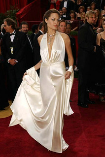 Angelina Jolie Red Carpet Satin Ivory Sexy V Neck Evening Gown Oscar Celebrity Dress