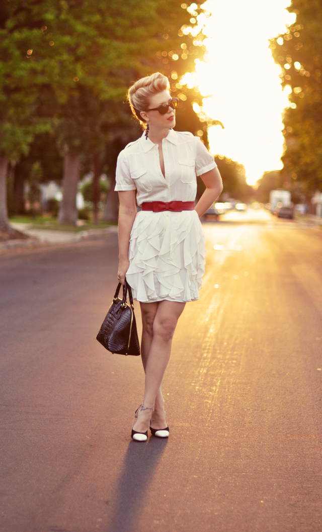 White Safari Dress with Red Belt