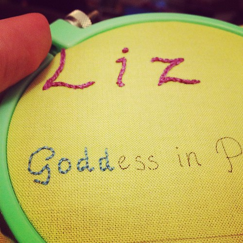 Working on a name tag for #sewingsummit. Not too shabby for someone who never does embroidery.