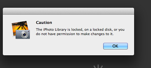 Iphoto Library is locked, on a locked disk, or you do not have permission to make changes to it.