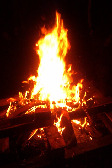 A blazing bonfire
