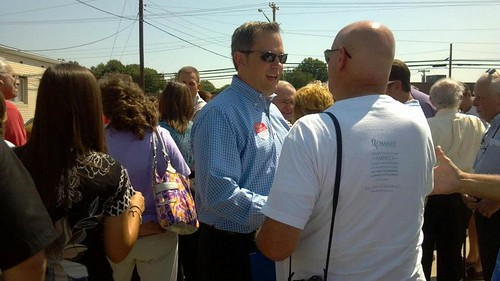 Talking with people at the Romney/Ryan Event in High Point