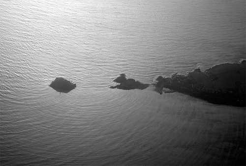 Island off Wales from above.