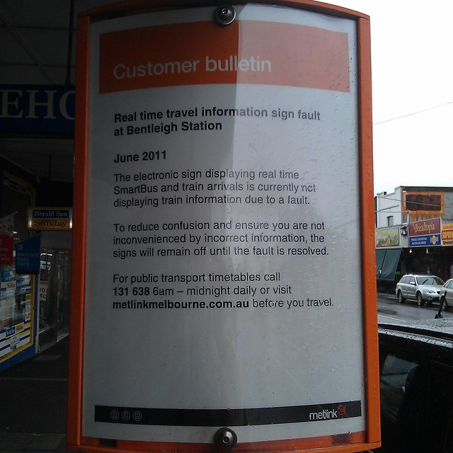 Bentleigh Smartbus sign: apology 1