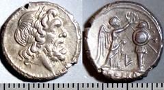 97-1a Luceria L Victoriatus. Roman mint. Jupiter; Victory L Trophy. Paris d'Ailly 3188, 3g27