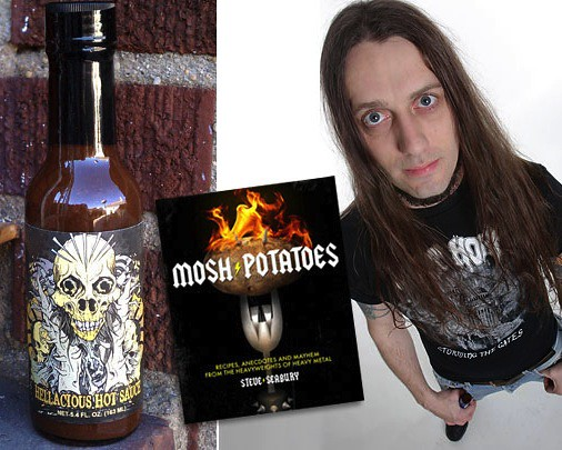 From left: High River Sauces; Mosh Potatoes heavy metal cookbook; author and chef Steve Seabury.