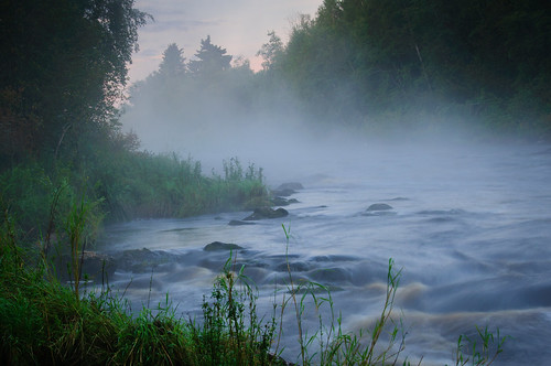 morning mist water fog early quiet rapids dew moist voitby